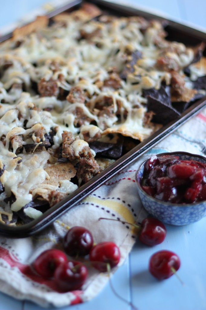 Sausage Nachos with Cherry Chutney | www.purplehousecafe.com