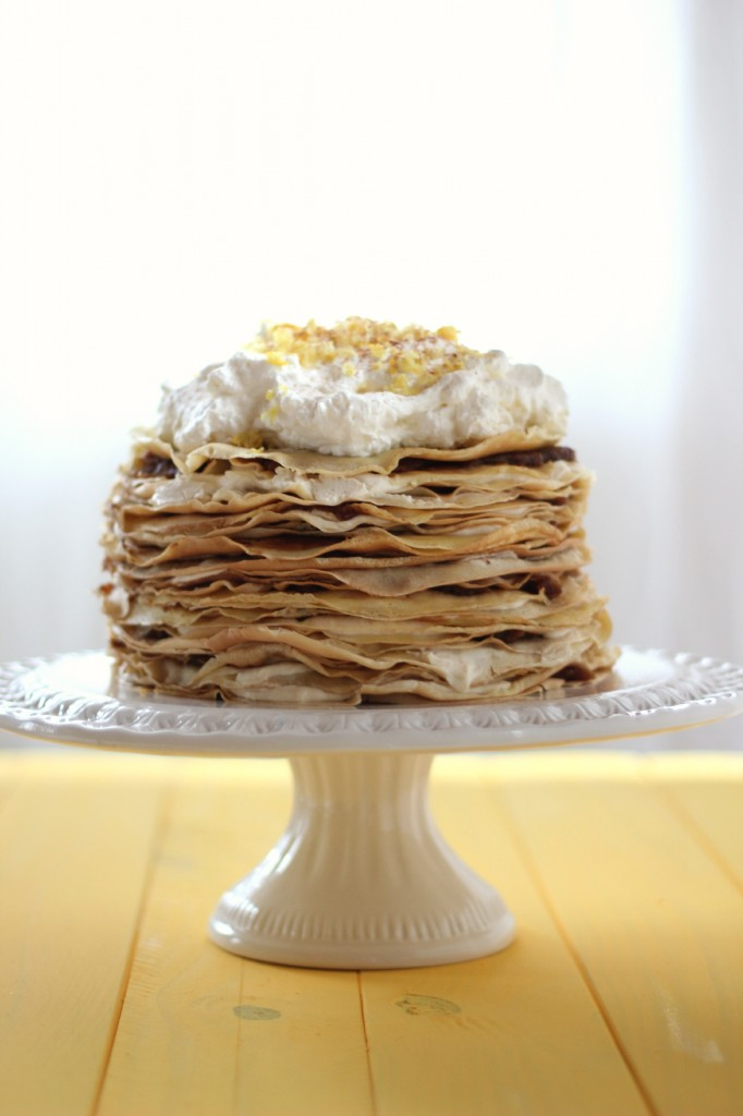 Crepe Cake with Vanilla Dates, Honeyed Ricotta and Lemon Whipped Cream | www.purplehousecafe.com