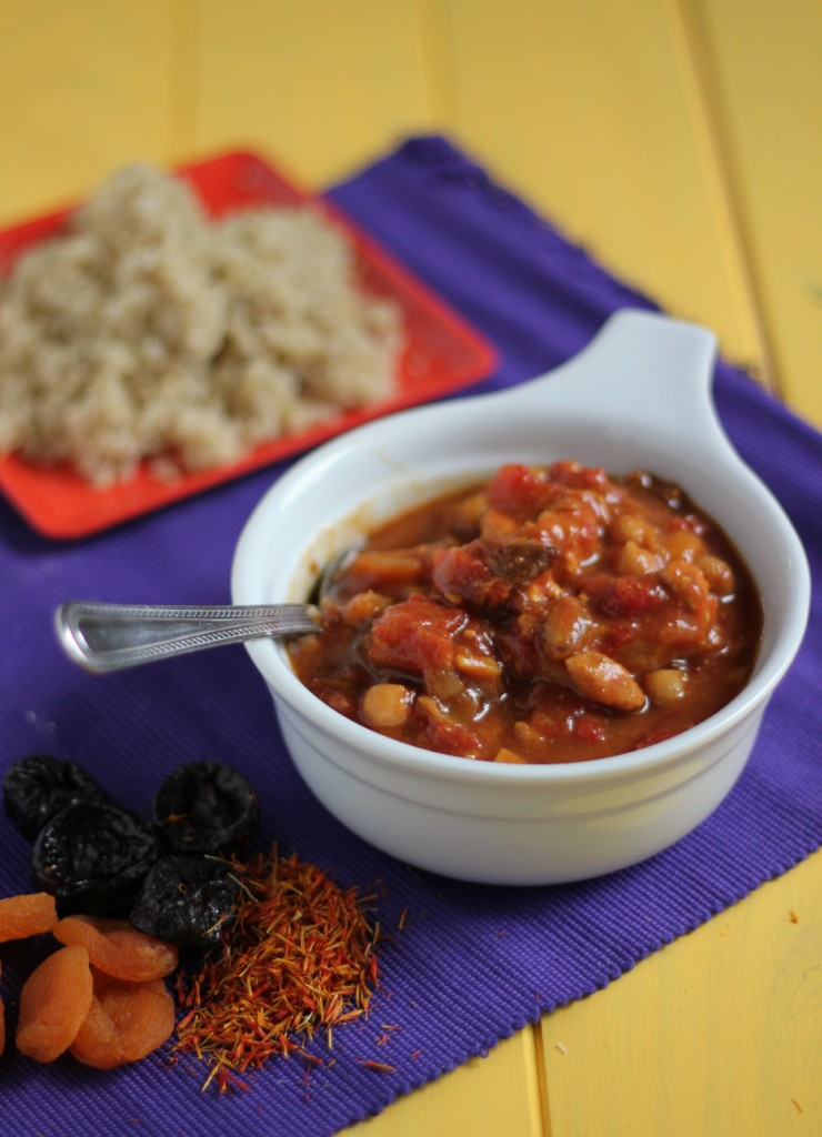Crockpot Moroccan Chicken, Apricot and Chickpea Tagine | www.purplehousecafe.com