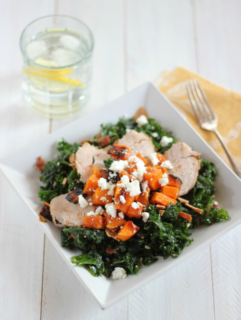 Massaged Kale Salad with Butternut Squash and Pork Tenderloin | www.purplehousecafe.com