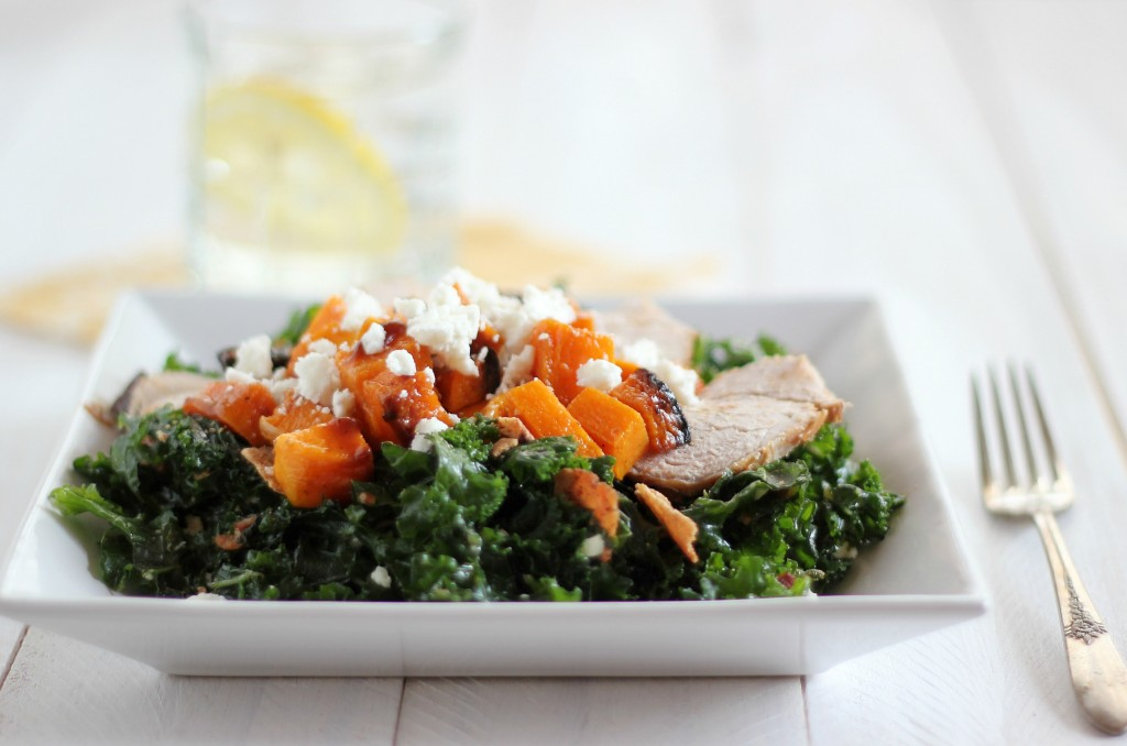 Massaged Kale, Butternut Squash and Pork Tenderloin Salad | www.purplehousecafe.com