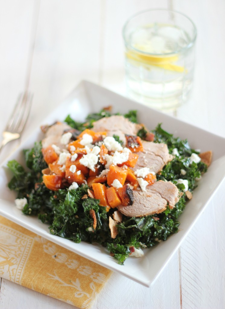 "Kale ""Caesar"" with Butternut Squash and Pork Tenderloin"